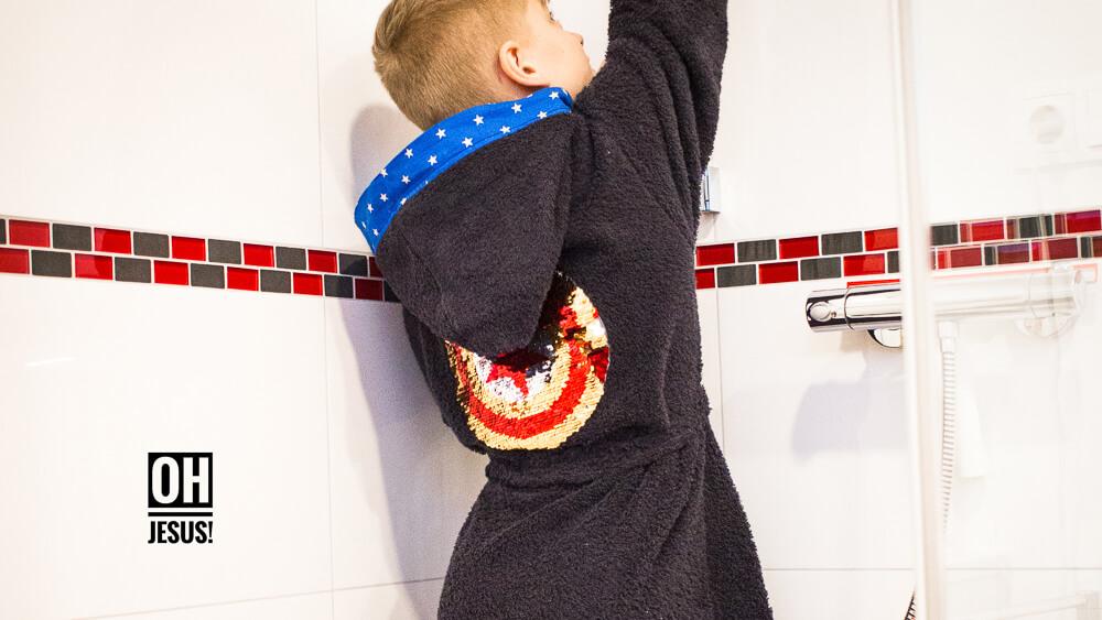 Bademantel Captain Amerika Sterne Wunderpop Stoff und Stil